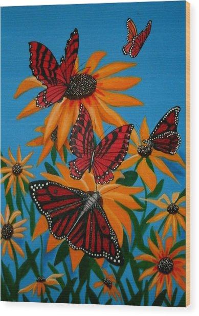 Badsunflower Wood Print