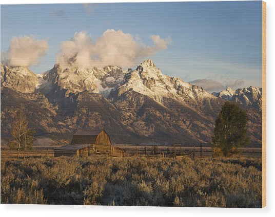 Barn And Corral On Mormon Row Wood Print
