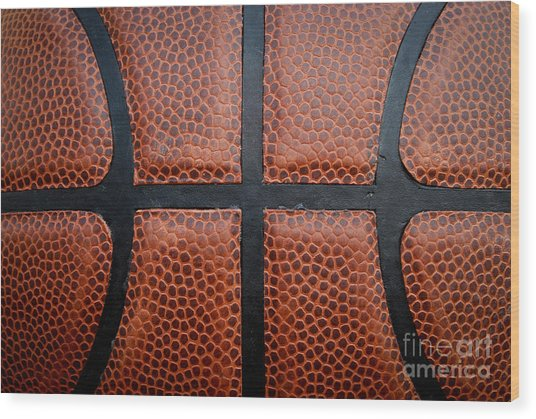 Basketball - Leather Close Up Wood Print by Ben Haslam
