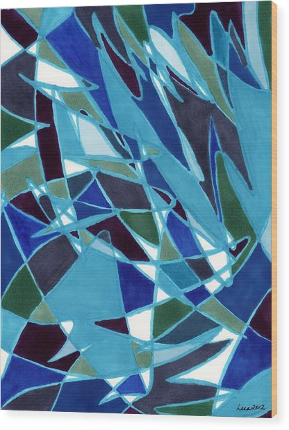 Blue Blaze Wood Print
