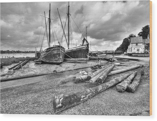 Boats And Logs At Pin Mill  Wood Print