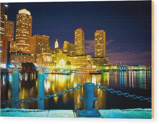 Boston Harbor Hotel Wood Print by Erica McLellan
