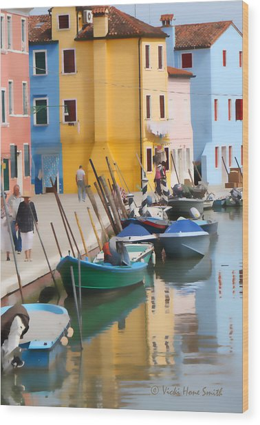 Wood Print featuring the photograph Burano Canal Scene by Vicki Hone Smith
