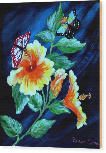 Butterflies And Blooms Wood Print