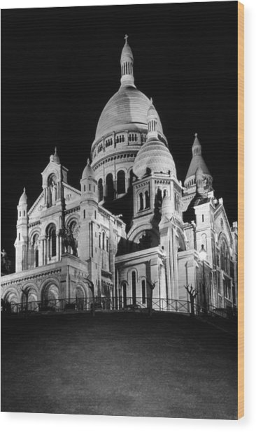 Bw France Paris The Sacre Coeur Basilica 1970s Wood Print by Issame Saidi