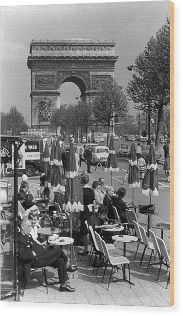 Bw France Paris Triumphal Arch 1970s Wood Print by Issame Saidi