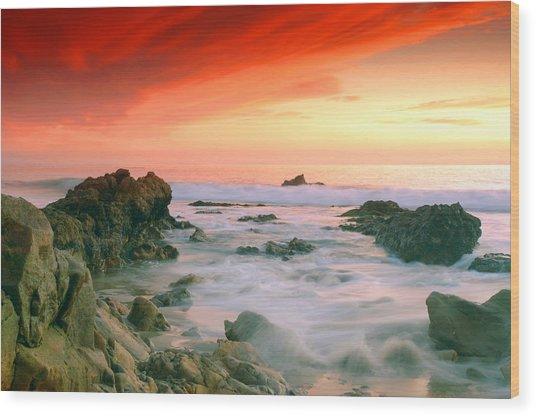 California Beach Sunset Wood Print
