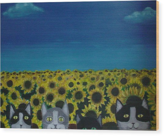 Cats And Sunflowers Wood Print