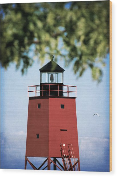 Charlevoix South Pier Lighthouse Wood Print by Christy Woods