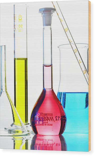 Chemistry Glass-ware Wood Print by Gombert, Sigrid