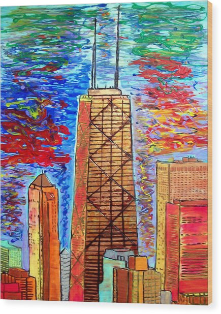 Chicago John Hancock Building Wood Print by Char Swift