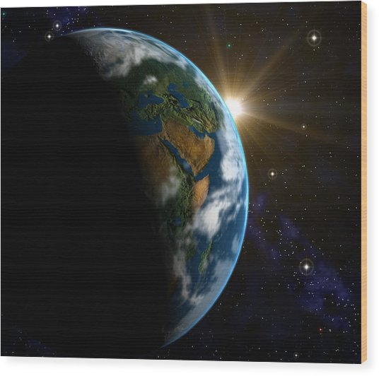 Computer Artwork Of Sunrise Over The Earth Wood Print by Roger Harris