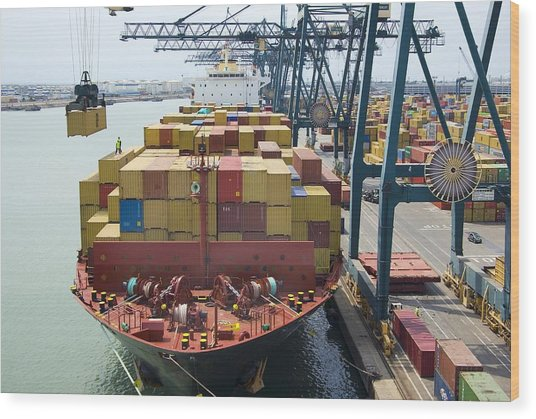 Container Ship And Port Wood Print by Dr Juerg Alean