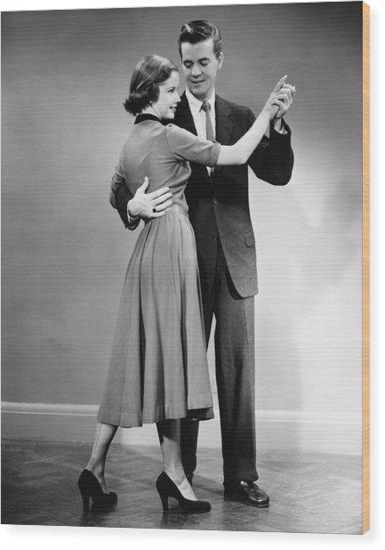Couple Dancing In Studio, (b&w) Wood Print by George Marks