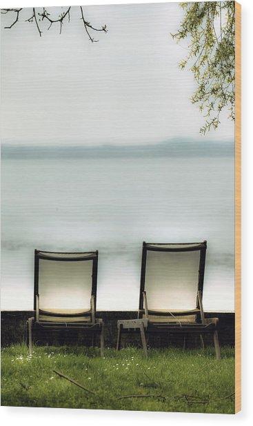 Deck Chairs Wood Print