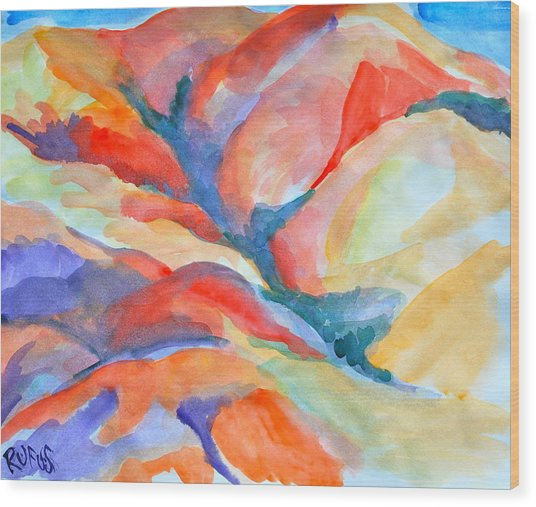 Desert Landscape Wood Print by Rufus Norman