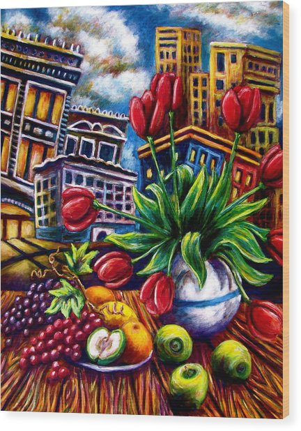 Down Town Tulips Wood Print