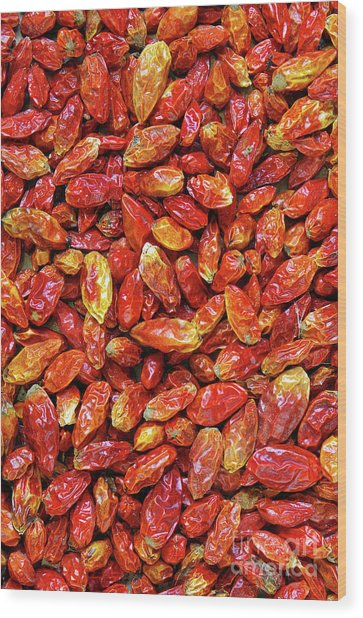 Dried Chili Peppers Wood Print