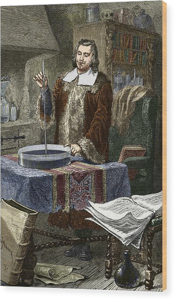 Evangelista Torricelli, Italian Physicist Wood Print by Sheila Terry