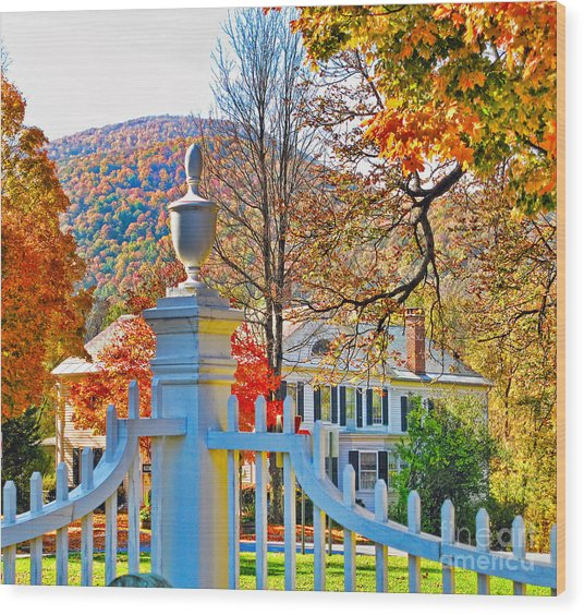 Fall Color In Bennington Vermont Wood Print