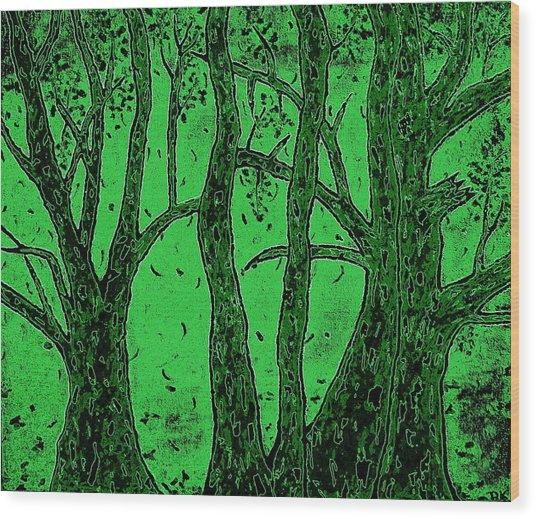 Falling Leaves Green Wood Print