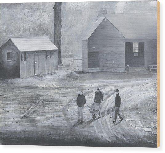 Farm In Black And White Wood Print