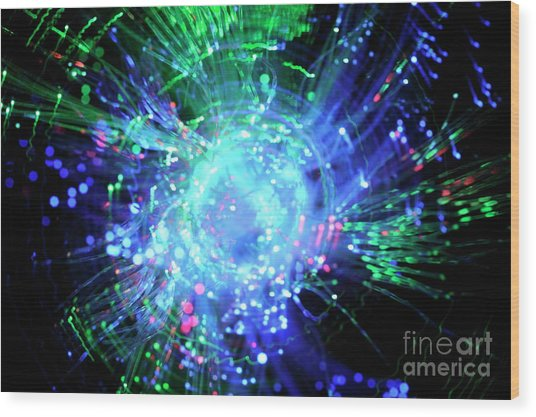 Fiber Optic Swirl Wood Print by Sami Sarkis