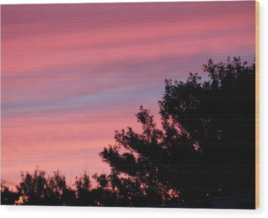 Fiery Sky Wood Print by Amy Holmes