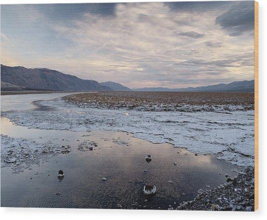 Flooded Salt Flat Wood Print by Bob Gibbons