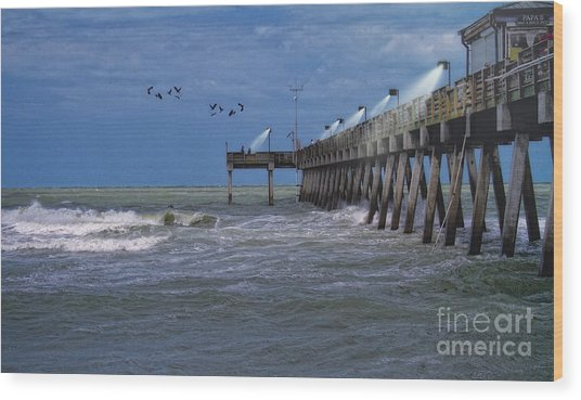 Florida Fishing Pier Wood Print