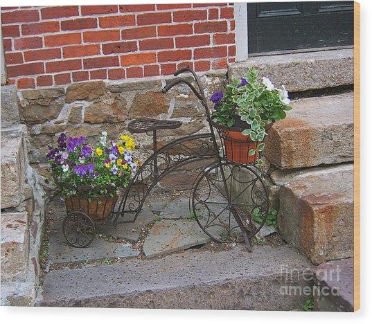Flower Bicycle Basket Wood Print