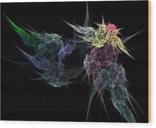 Flower In The Dark Wood Print by Michele Caporaso