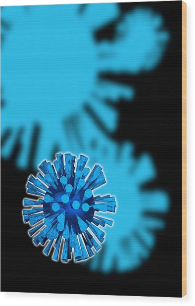Flu Virus Particles, Artwork Wood Print by Victor Habbick Visions