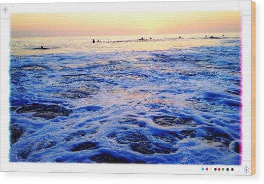 Foamy Sunset Wood Print by Sebastian Acevedo