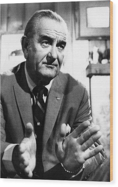 Former President Lyndon Johnson Wood Print by Everett