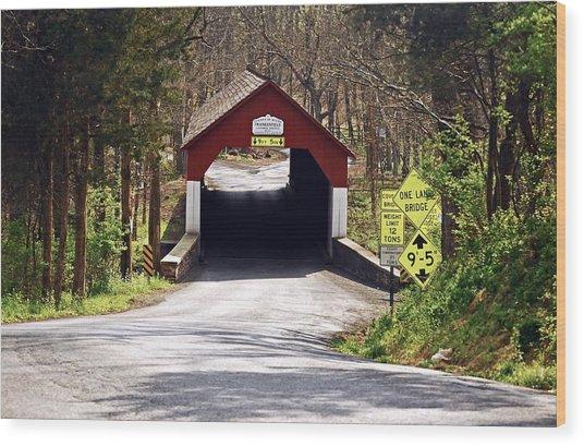 Frankenfield Covered Bridge Wood Print by Elsa Marie Santoro