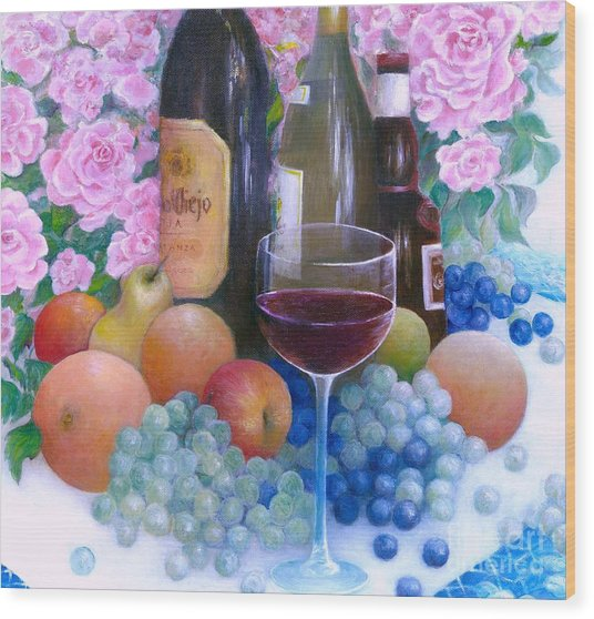 Fruits Wine And Roses Wood Print