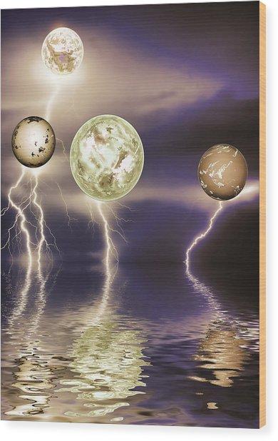 Galactic Storm Wood Print by Sharon Lisa Clarke