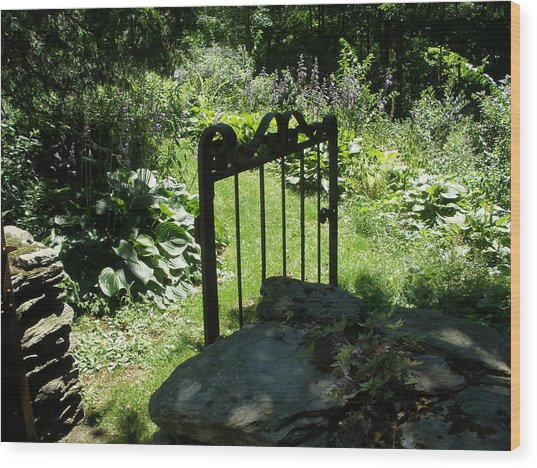 Gate To The Garden Wood Print by Suzanne Fenster