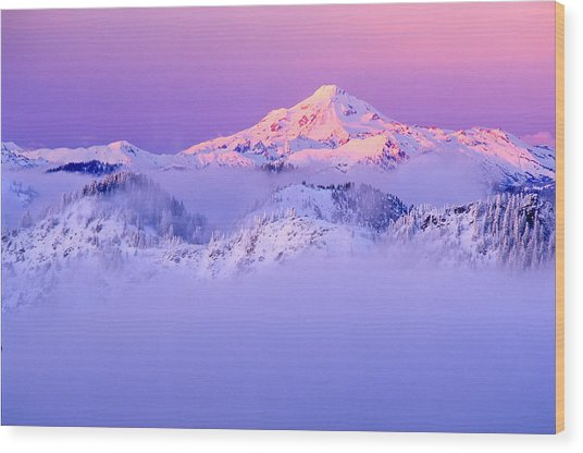 Glacier Peak Alpenglow - Purple Wood Print by Misao  Okada