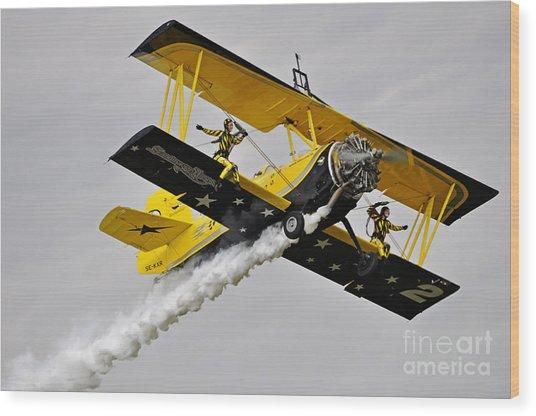 Grumman Ag 164 Wingwalker Wood Print by Conny Sjostrom