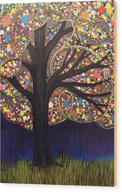 Gumball Tree 00053 Wood Print by Monica Furlow