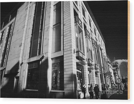 Harvey Nichols Store St Andrew Square Edinburgh Scotland Uk United Kingdom Wood Print by Joe Fox