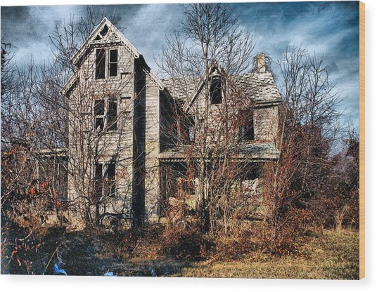 House In Ruins Wood Print