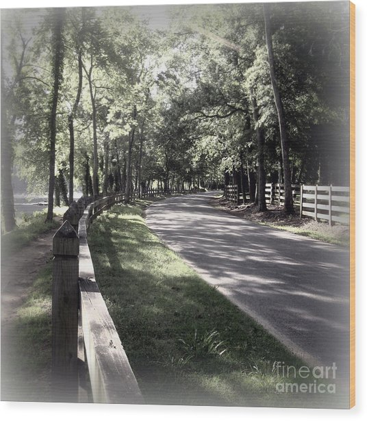 In My Dream The Road Less Traveled Wood Print by Nancy Dole McGuigan