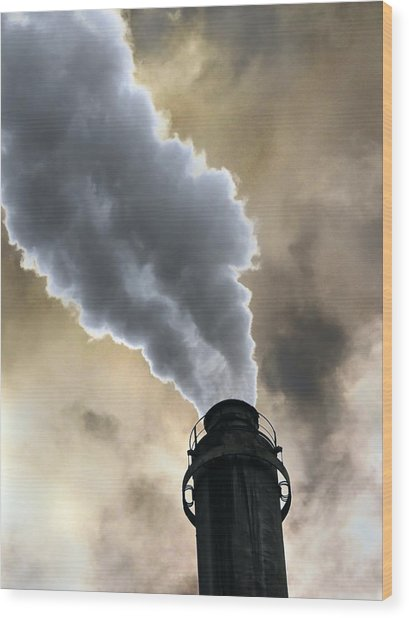Industrial Air Pollution Wood Print by Cordelia Molloy