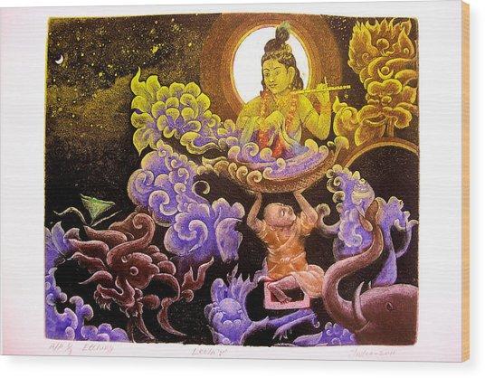 Krishna Leela Wood Print by Indra Khatri