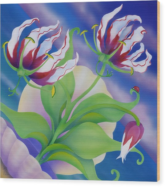 Ladybug And Lily Wood Print by Marcia  Perry
