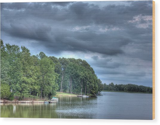 Lakeside Wood Print by Barry Jones