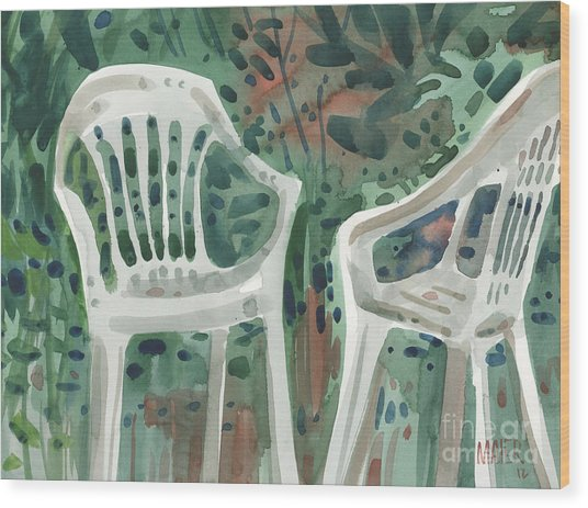 Lawn Chairs Wood Print